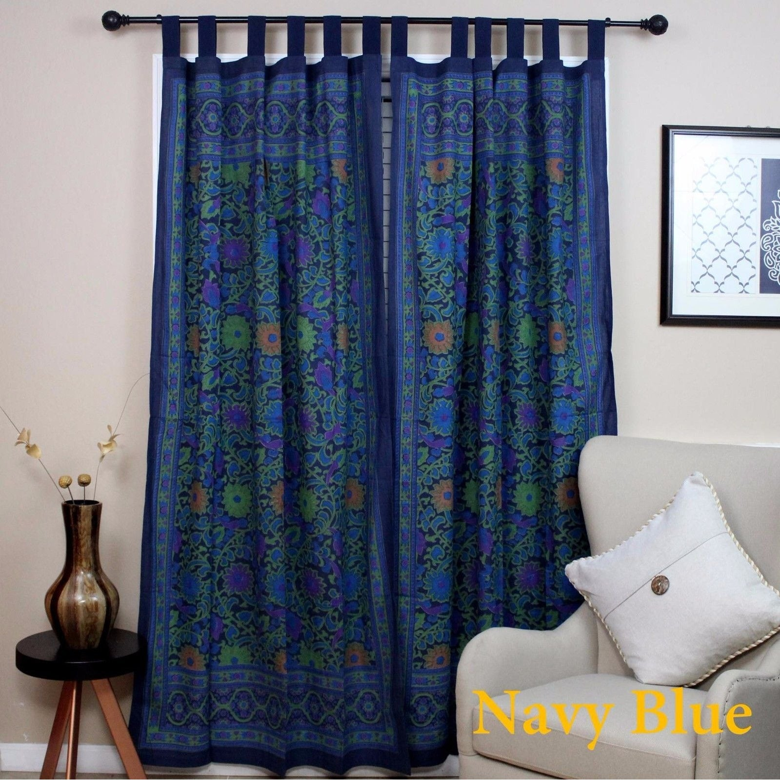 Out of Stock blue gray Handmade 100% Cotton Sunflower Floral Tab Top Curtain  Drape Door Panel Navy Blue Gray Yellow