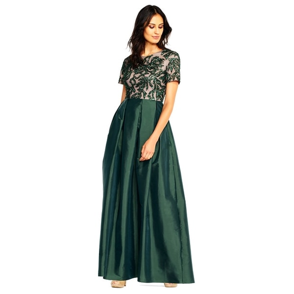 bcd66fb975d8 Shop Adrianna Papell Short Sleeve Ball Gown Vine Beaded Bodice, Dusty  Emerald, 16 - Free Shipping Today - Overstock - 24206701