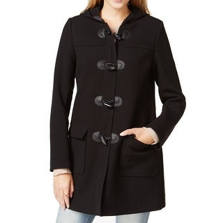 Maison Jules NEW Black Women's Size Small S Pleather Hood Toggle Coat