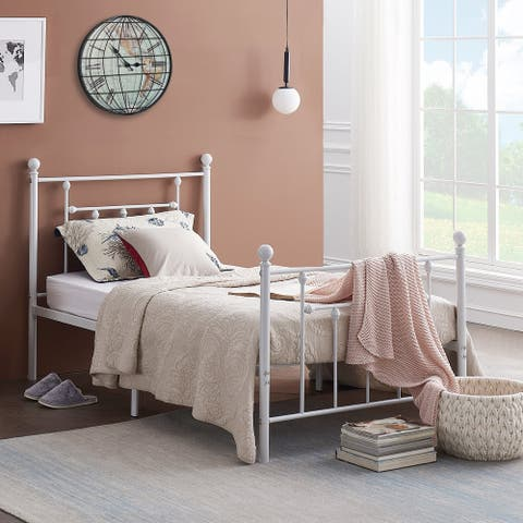 VECELO Vintage Line Metal Bed Frame- White(Twin/Full/Queen Size 3 Opotion)