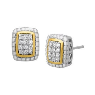 1/6 ct Diamond Stud Earrings in Sterling Silver & 14K Gold