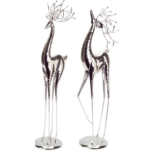 """Set of 2 Standing Slim Reindeer Christmas Tabletops 28"""" - silver"""