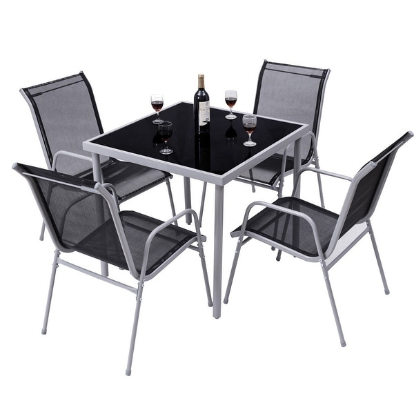 Shop Costway 5 PCS Bistro Set Garden Set of Chairs and ...