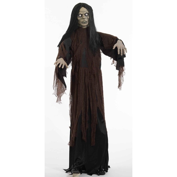 6 Ft Standing Zombie Lady Halloween Prop Decoration