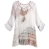 Kaktus Sportswear Women's Gauzy Tunic Top - Silky Embroidered Blouse With Cami