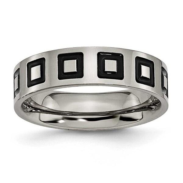 Chisel Black Enamel Flat Polished Titanium Ring (6.0 mm)