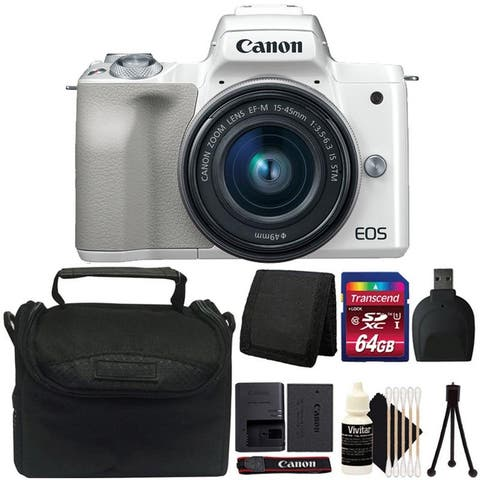 Canon EOS M50 Mirrorless Digital Camera with 15-45mm Lens (White) + 64GB Memory Card Bundle