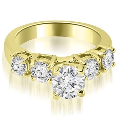 0.95 cttw. 14K Yellow Gold Prong Set Round Cut Diamond Engagement Ring
