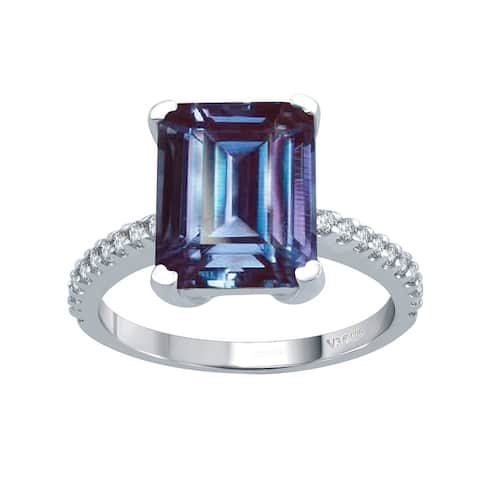 Sterling Silver with Alexandrite and White Topaz Solitaire Ring