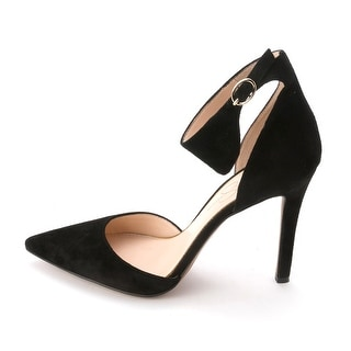 Jessica Simpson Womens CITA Suede Pointed Toe Ankle Strap D-orsay Pumps