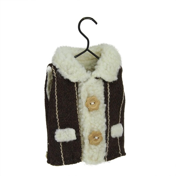 "5.25"" Alpine Chic Gray Winter Vest on Hanger Christmas Ornament - brown"