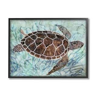 Link to Stupell Industries Intricate Sea Tortoise Abstract Blue Coral Framed Wall Art Similar Items in Canvas Art