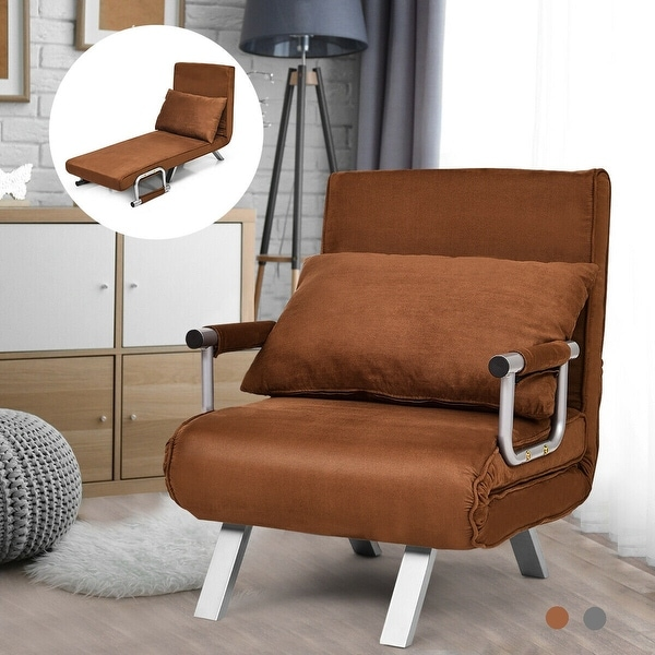Gymax Folding Sofa Chair Reclining Bed Convertible Lounger Brown Caesious Home