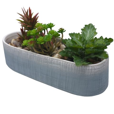 "ABN5E149L-GY Blue two toned ombre ceramic 10"" planter, Planters"