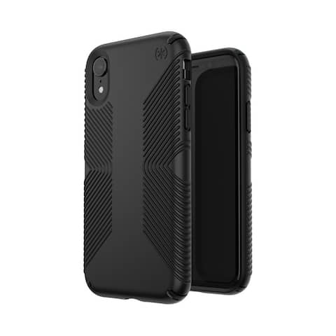Speck Presidio Grip Designed for Impact Case for iPhone Xr - Black/Black - Black