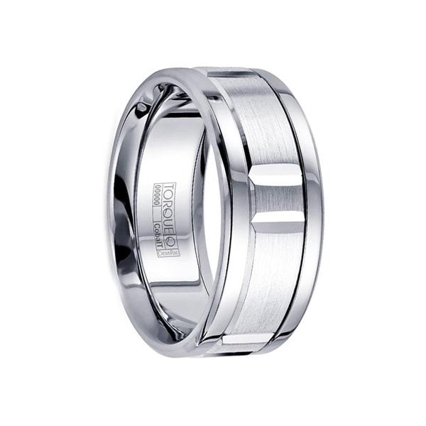 BARAKA Flat Cobalt Wedding Ring Satin Grooved Center Polished Edges by Crown Ring - 9mm