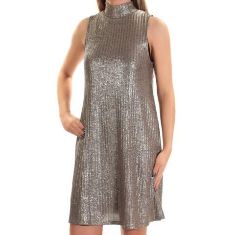 KENSIE Womens Silver Pinstripe Sleeveless Turtle Neck Mini Shift Dress Size: XS