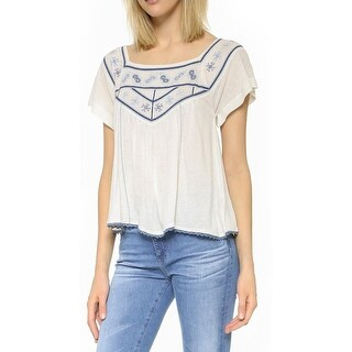 Free People Womens Muse Crop Top Embroidered Short Sleeves