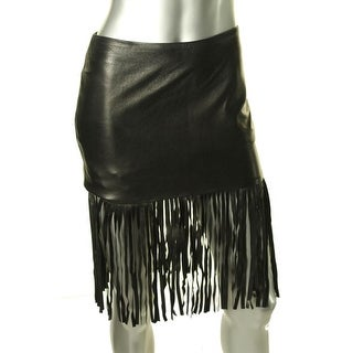 Theperfext Womens Leather Fringe Mini Skirt