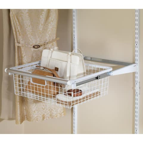 "Rubbermaid FG3J0503 Configurations 23.5"" Long 2 Tier Wire Basket with Slides - White"