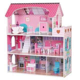 Link to Large Children's Wooden Dollhouse Kid House Play Pink with Furniture Similar Items in Dolls & Dollhouses