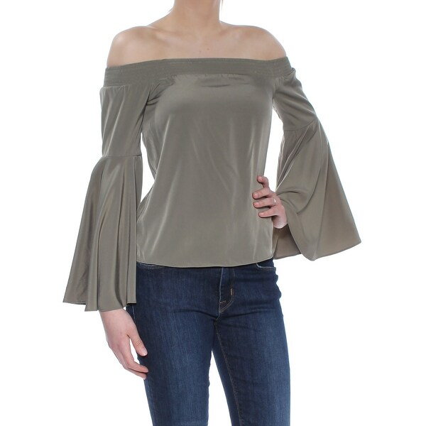 9082c0e9fb91e0 Shop BAR III Womens Green Bell Sleeve Off Shoulder Top Size  2XS - Free  Shipping On Orders Over  45 - Overstock - 27773607