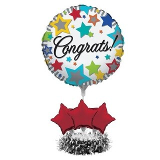 "Pack of 4 Multi-Colored Stars ""Congrats"" Foil Graduation Party Balloon Centerpiece Kits 9"" - Multi"