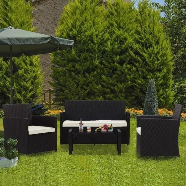 Zenova Outdoor Furniture Set 4 Pieces Rattan Wicker Sofa Waterproof. Opens flyout.