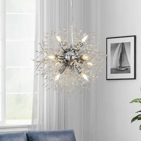 "Interior Décor Starburst Crystal Chandelier 8-lights Firework Globe Pendant Sputnik Ceiling Light - W20""xH20"""