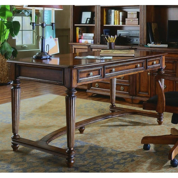 """Hooker Furniture 281-10-458 60"""" Wide Hardwood Writing Desk from the Brookhaven Collection - Medium Cherry"""