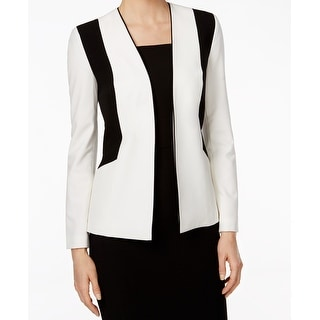 Nine West NEW White Women's Size 12 Colorblock Open Front Jacket