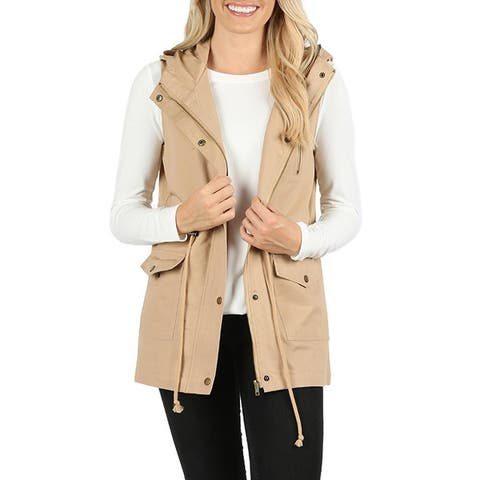 NioBe Clothing Womens Sleeveless Utility Military Style Hooded Vest