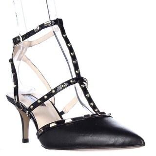 I35 Carma Studded T-Strap Pointed Toe Heels, Black