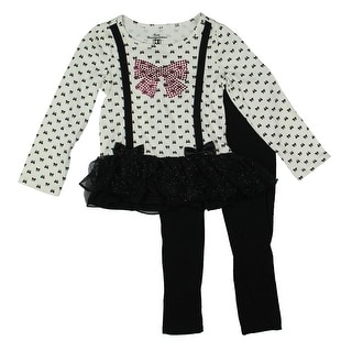 Kids Headquarters Girls Embellished Tulle Skirt Pant Outfit - 4T