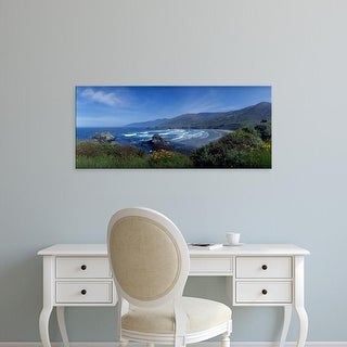Easy Art Prints Panoramic Image 'High angle view of a beach, Sand Dollar Beach, Big Sur, California, USA' Canvas Art