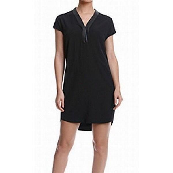 3107a7b266c Calvin Klein NEW Black Women  x27 s Size 10 Faux Leather Trim Shift Dress