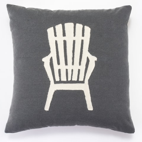 Cottage Home Grey Cotton Adirondack Chair Throw Pillow
