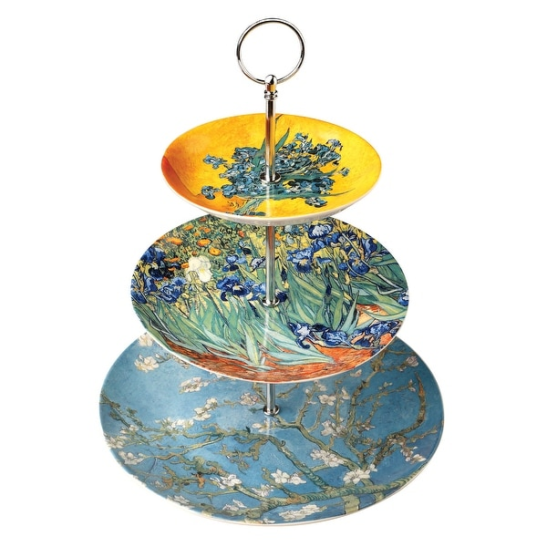 Van Gogh Paintings 3-Tiered Serving Stand - Bone China Impressionist Art Tray - Multicolor - 13.5 in.