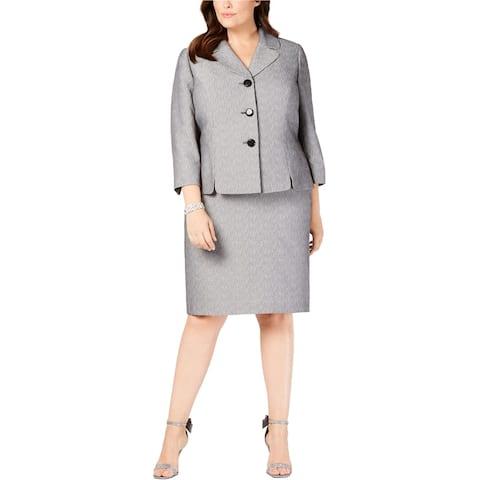 Le Suit Womens Wide Lapel Skirt Suit, Grey, 18W
