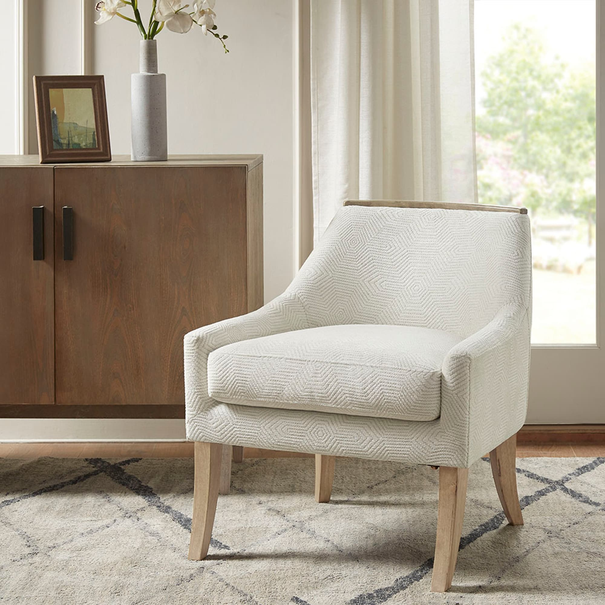 Shop Madison Park Milana Ivory Accent Chair Overstock 31796058