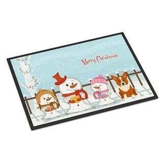 Carolines Treasures BB2431JMAT Merry Christmas Carolers Corgi Indoor or Outdoor Mat 24 x 0.25 x 36 in.