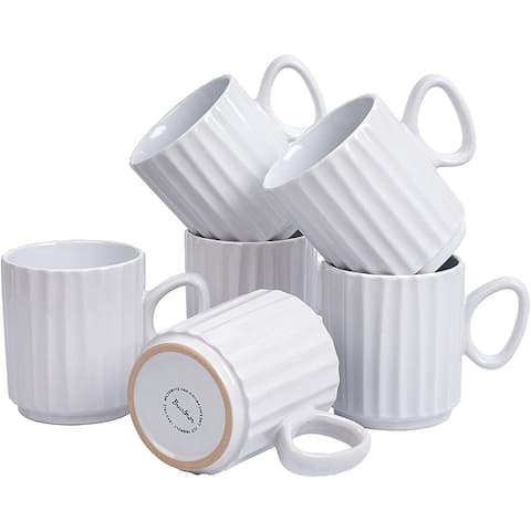 Set of 6 Coffee Mug Sets, 14 Ounce Ceramic Coffee, Ribbed Large-sized Black Coffee Mugs Set Perfect for Coffee, Cappuccino