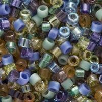 Miyuki Delica Seed Beads, 11/0 Size, 7.2 Grams, Mix Prairie Blue Amber Green