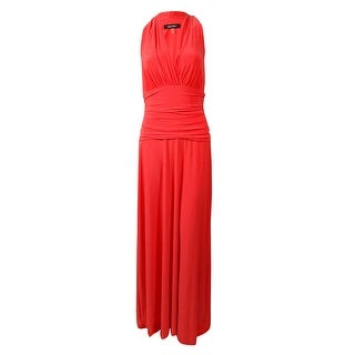 Nine West Women's Racerback V-Neck Maxi Jersey Dress - fireglow