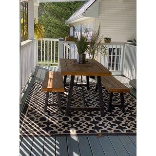 Puerto Acacia Wood 3-piece Picnic Dining Set by Christopher Knight Home