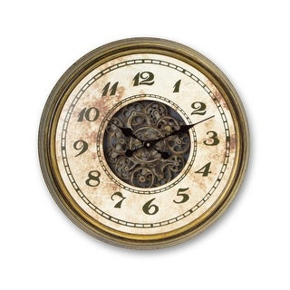 """24"""" Green and Gold Mechanical Style Exposed Gear Decorative Wall Mounted Clock"""