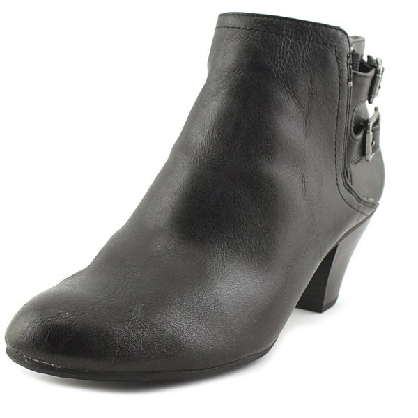 Life Stride Gabe Women Round Toe Leather Black Bootie
