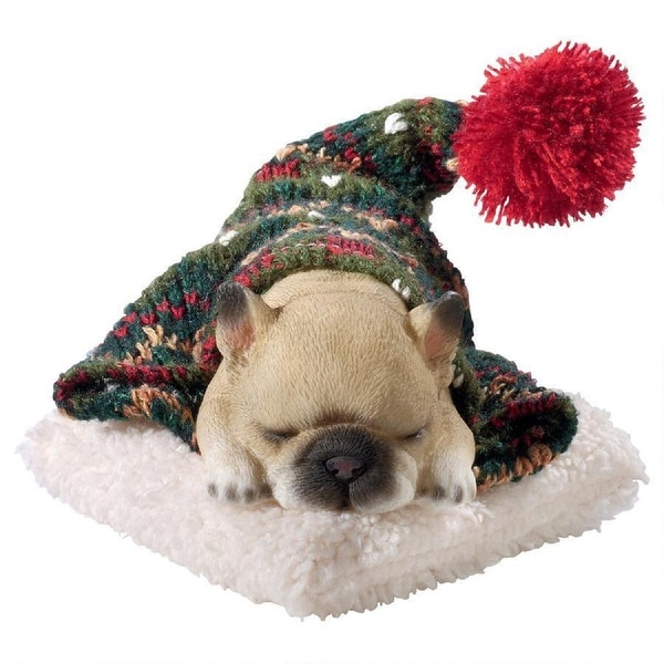 """8"""" Sleeping French Bulldog Puppy Hand Painted Outdoor Garden Statue - N/A"""