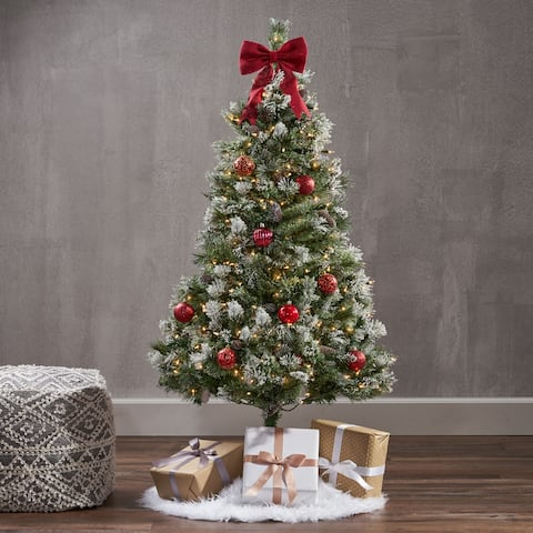 4.5-ft Pre-/Unlit Faux Spruce Snowy Glitter Christmas Tree w/ Frosted Pinecones