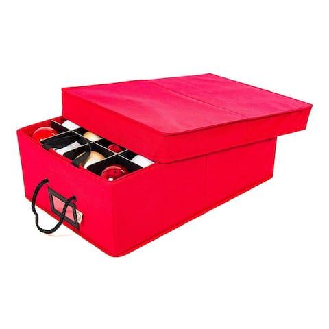 Santa's Bags Two Tray Ornament Storage Box - RED